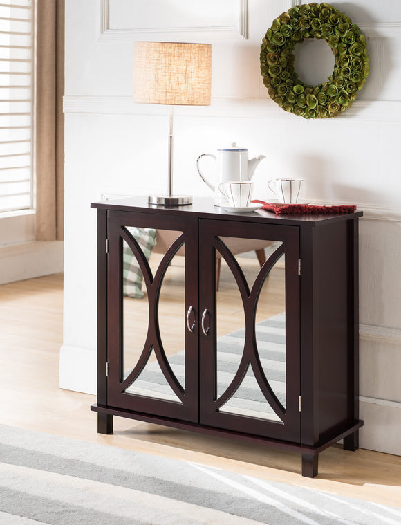 Luke Espresso Wood Contemporary Accent Entryway Display Console Table With Mirrored Cabinet Door Storage - Pilaster Designs