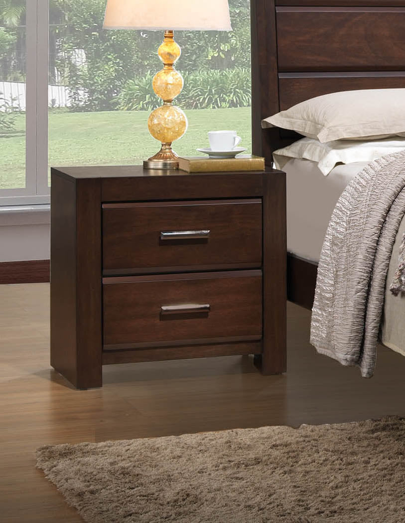 Walnut Wood Contemporary 2 Drawer Storage Bedroom Nightstand Bedside Table