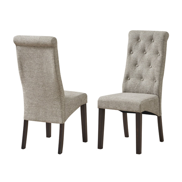 Huxley Dining Chairs, Gray Fabric & Black Wood