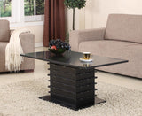 Leina Black Wood Contemporary Wave Design Occasional Tables (Optional Coffee & End) - Pilaster Designs
