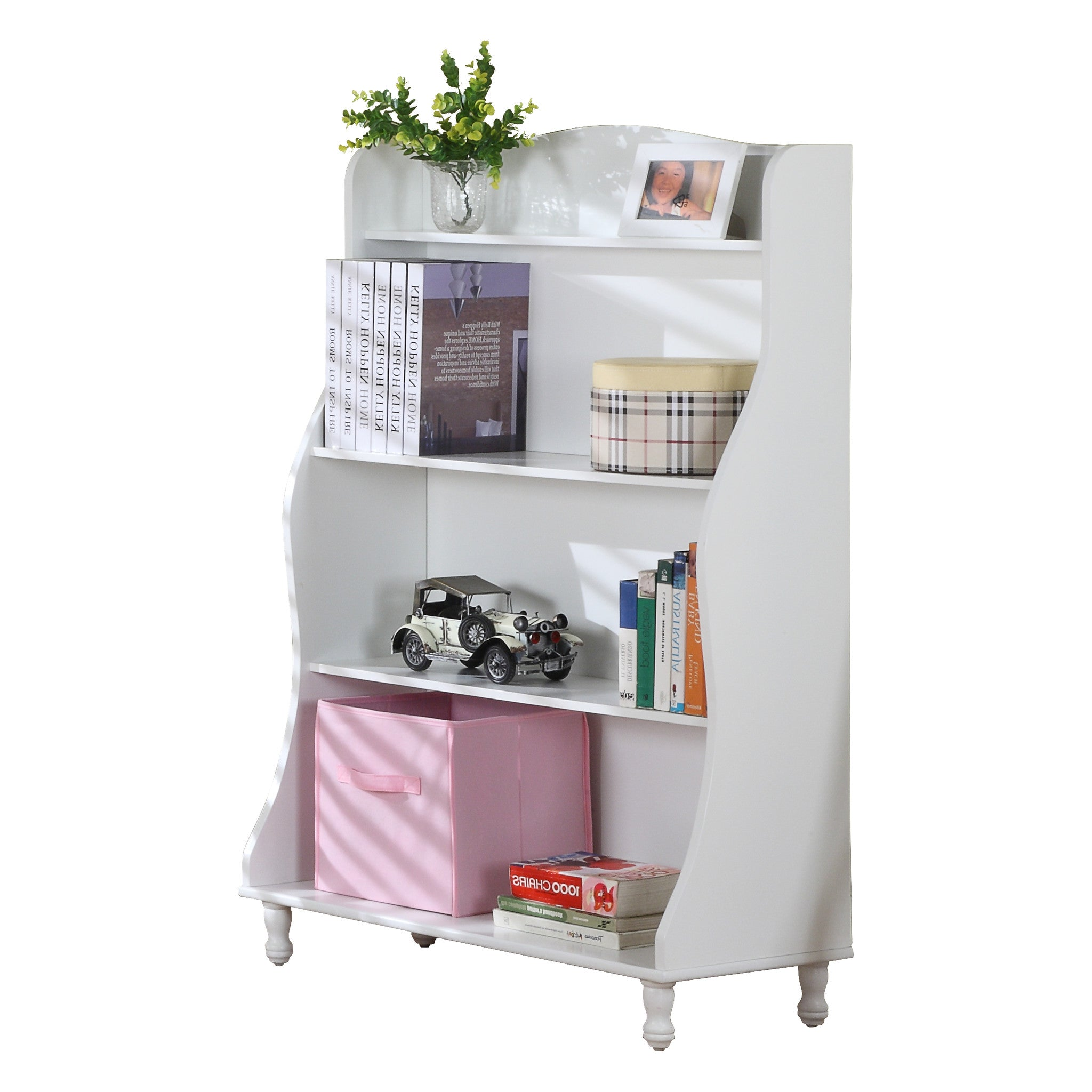 White Wood Kids 4 Tier Tall Bookcase Display Storage
