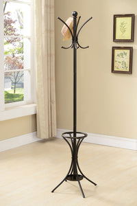 Hamaisim Pewter Metal Transitional 8 Hook Hat & Coat Rack Stand With Umbrella Holder - Pilaster Designs
