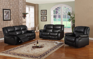 Brooklyn Black, Chocolate, Merlot or Putty Upholstered Bonded Leather or Microfiber Transitional Configurable Motion Reclining Living Room Set - Pilaster Designs
