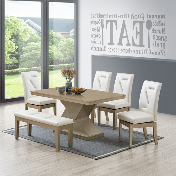 Legault 6 Piece Dining Set, White Vinyl & Gold Wood