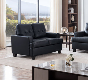 Molina Loveseat, Black Faux Leather