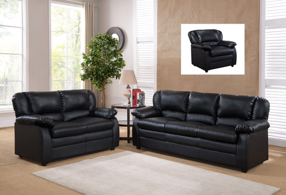 Caire 3 Piece Living Room Set, Black Faux Leather