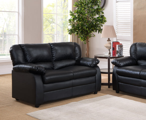 Caire Loveseat, Black Faux Leather