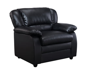 Caire Chair, Black Faux Leather