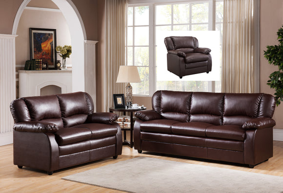 Caire 3 Piece Living Room Set, Brown Faux Leather