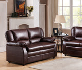 Caire Loveseat, Brown Faux Leather