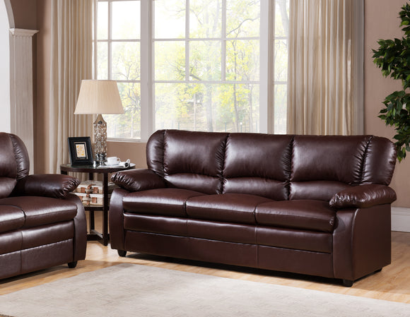 Caire Sofa, Brown Faux Leather