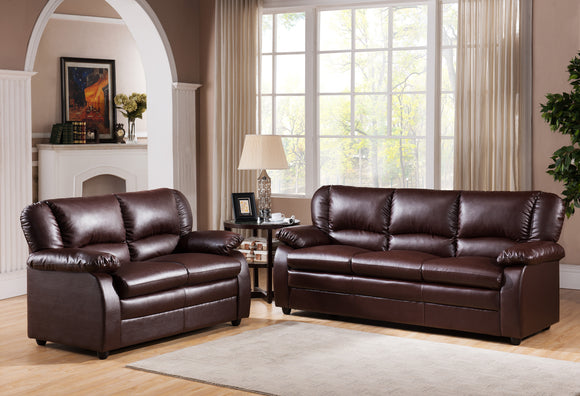 Caire 2 Piece Living Room Set, Brown Faux Leather