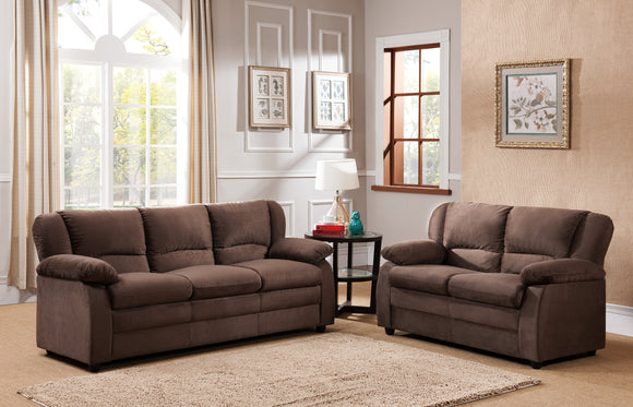 Caire 2 Piece Living Room Set, Chocolate Fabric