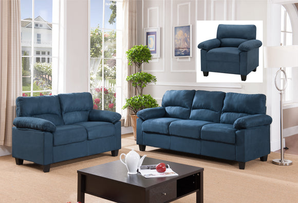 Joyland 3 Piece Living Room Set, Blue Fabric