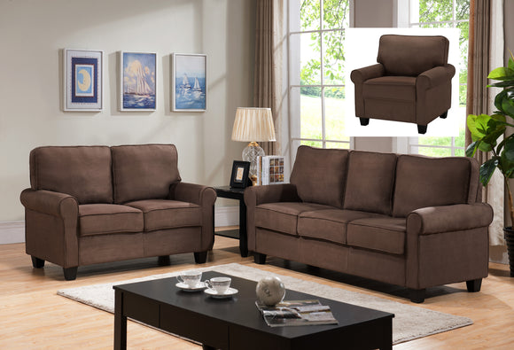 Fallsview 3 Piece Living Room Set, Chocolate Fabric