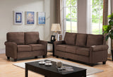 Jadira Upholstered Microfiber Transitional Stationary Living Room Set (Optional Chair, Loveseat, Sofa) (Chocolate, Gray, Red) - Pilaster Designs