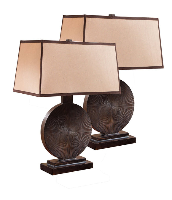Giana Espresso With Brown Rectangle Fabric Shade Traditional Round Bedroom, Bedside, Desk, Bookcase, Living Room Table Lamps (Set Of 2) - Pilaster Designs