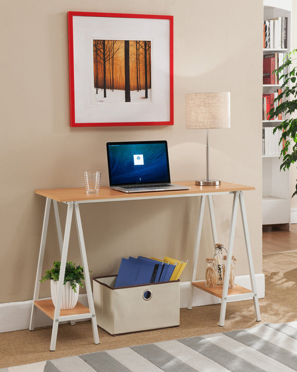 Kennedi Metal & Wood Home & Office Computer Workstation Desk With 2 Storage Shelves (Gray, Natural) - Pilaster Designs