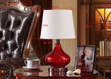 Aislinn Red Chrome Glass & Metal With White Empire Fabric Shade Contemporary Bedroom, Bedside, Desk, Bookcase, Living Room Table Lamps (Set Of 2) - Pilaster Designs