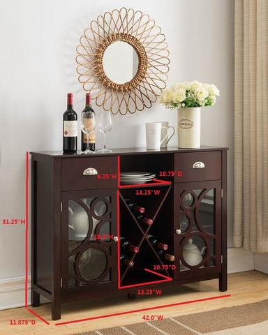 ... Dark Cherry Wood Wine Rack Sideboard Buffet Display Console Table With  Storage Drawers, Glass Cabinet Part 49