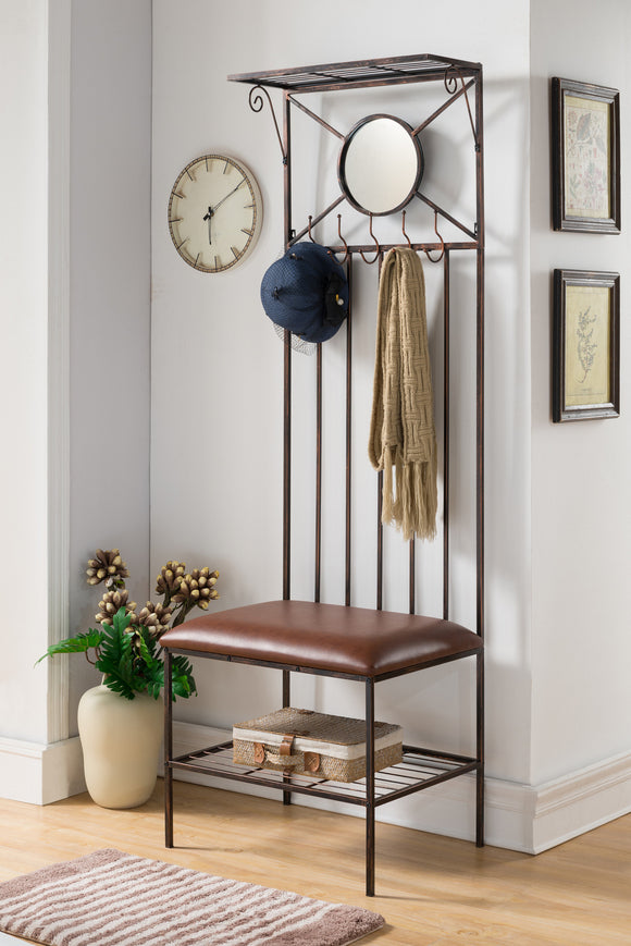 Copper Metal Entryway Hallway Storage Bench Hall Tree Coat Rack - Pilaster Designs