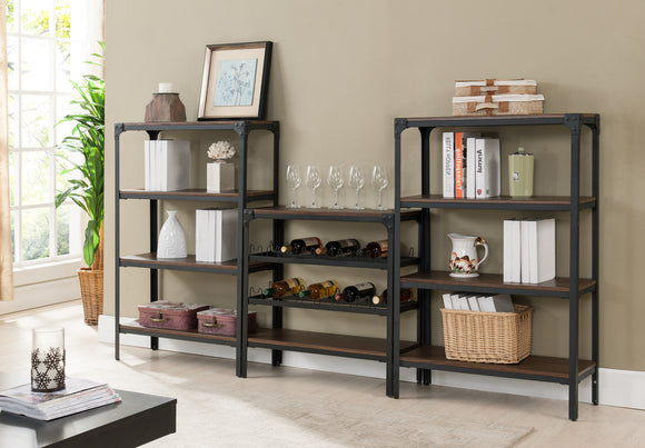 Catalina Bookcase & Wine Rack Set, Walnut Wood & Black Metal