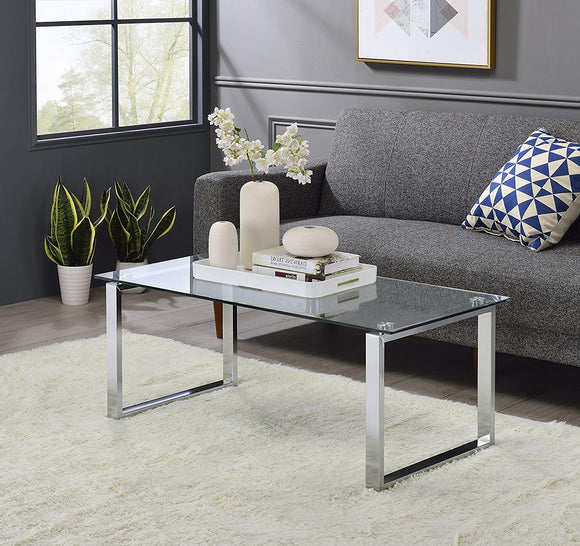 Andi Coffee Table, Chrome Metal & Tempered Glass