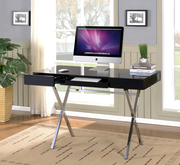 Sarai Desk, Black Wood & Chrome Metal