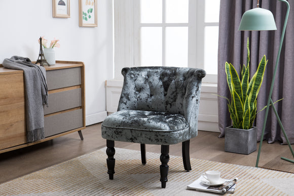 Accent Chair, Gray Velvet & Black Wood