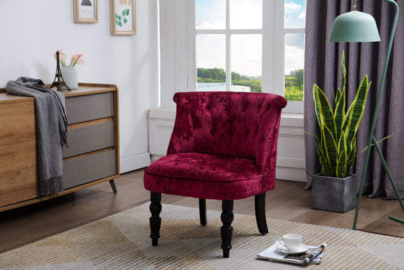 Accent Chair, Red Velvet & Black Wood
