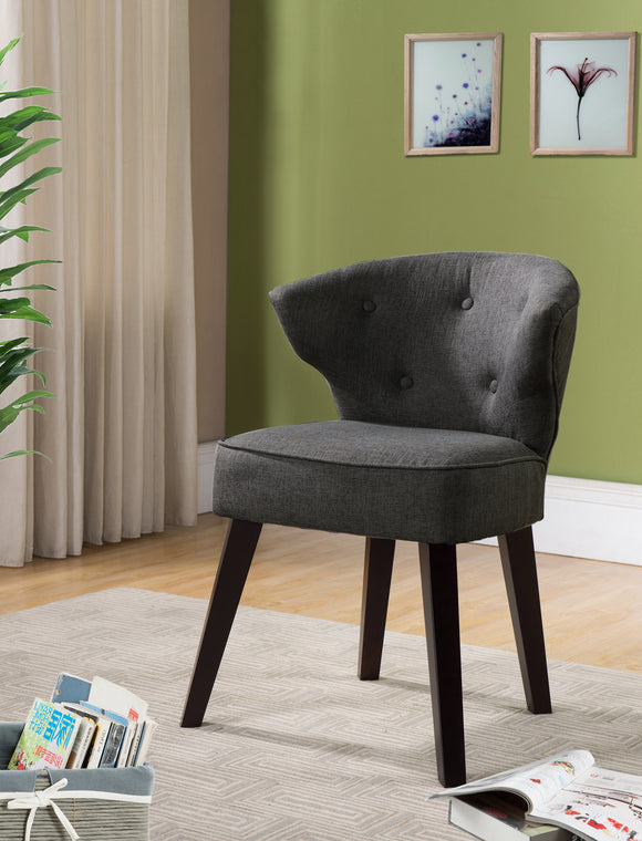 Grey & Dark Cherry Upholstered Fabric Armless Oversized Accent Chair With Button Tufs, Wood Frame & Legs - Pilaster Designs