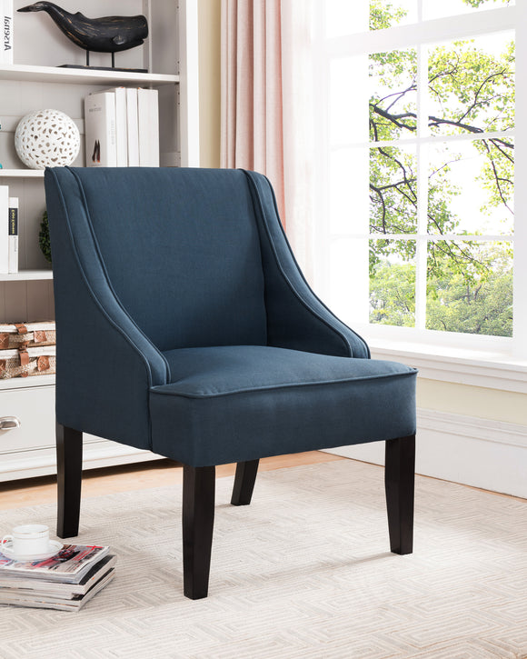 Dark Blue & Black Upholstered Fabric Oversized Accent Chair With Wood Frame & Legs - Pilaster Designs