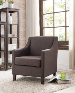 Chocolate Upholstered Fabric Oversized Accent Living Room Arm Chair With Solid Wood Legs - Pilaster Designs