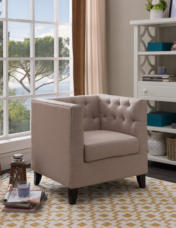 Cream Upholstered Fabric Oversized Accent Living Room Arm Chair With Solid Wood Legs - Pilaster Designs