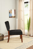 Black & Cherry Upholstered Velvet  Oversized Armless Accent Chair With Wood Frame & Legs - Pilaster Designs