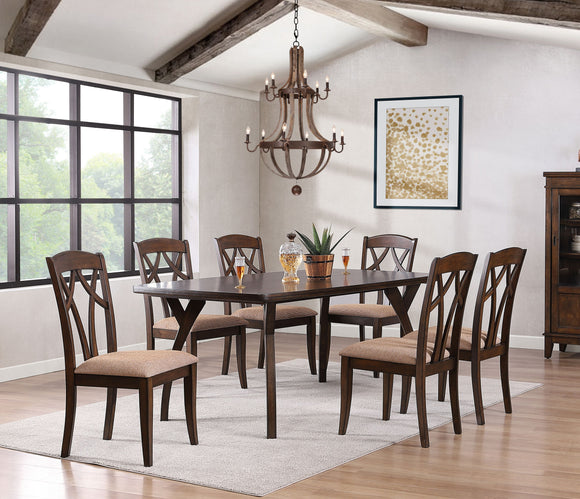 Mindy 7 Piece Dining Set, Cherry Wood