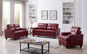 Molina 3 Piece Living Room Set, Red Faux Leather