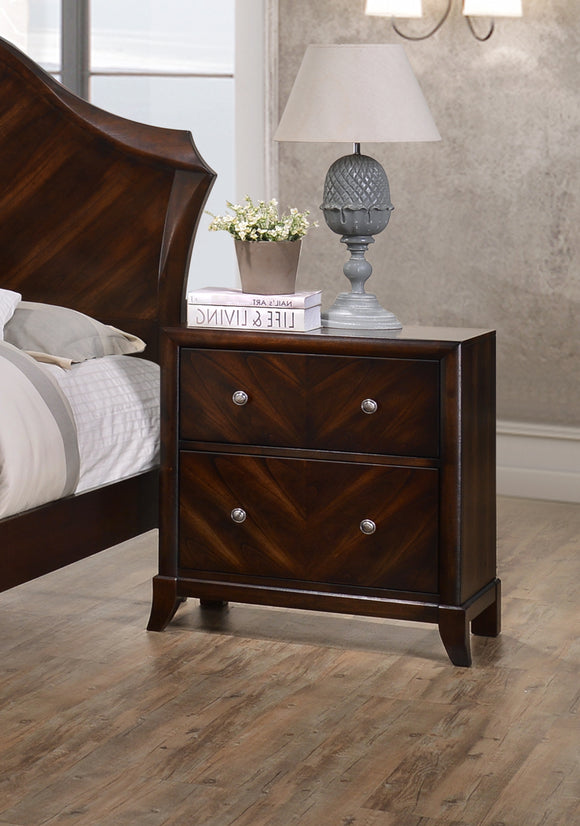 Wenge Mahogany Wood Contemporary 2 Drawer Storage Bedroom Nightstand Bedside Table