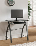 Selah Desk, Gray Metal & Black Tempered Glass