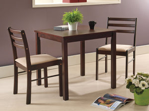 3 Piece Espresso Wood Transitional Dining Room Dinette Set Table & Two Chairs - Pilaster Designs