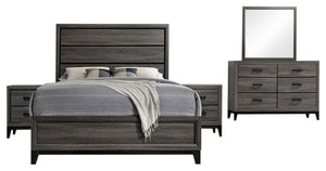 Asheville 5 Piece Bedroom Set, King, Gray Wood