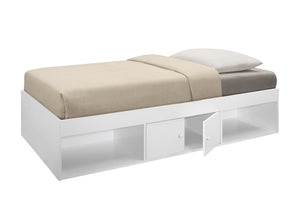 Tiara Twin Size Storage Bed, White Wood