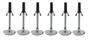 "Metal Nylon Base 5.8"" Adjustable Height Threaded Bed Frame Riser Glides For Casters/Wheels Replacement (Set Of 4 or 6) - Pilaster Designs"