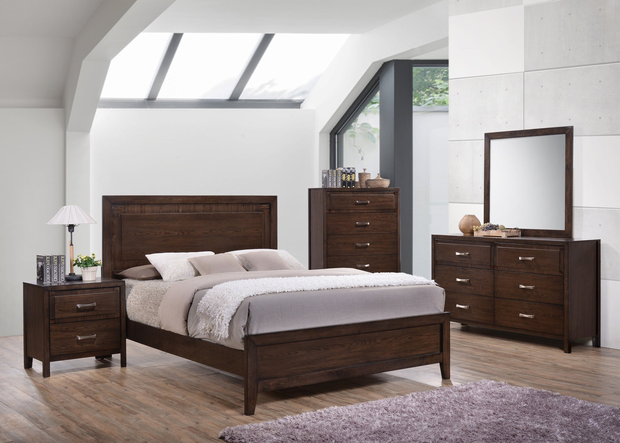 Cappuccino wood queen size contemporary configurable - Contemporary king size bedroom furniture ...