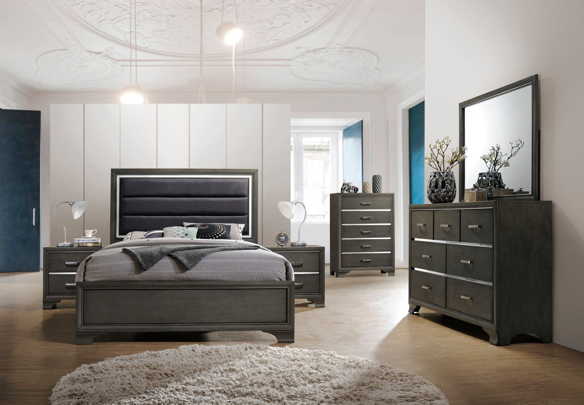 Queen or King Size Modern Gray Wood With Faux Leather ...