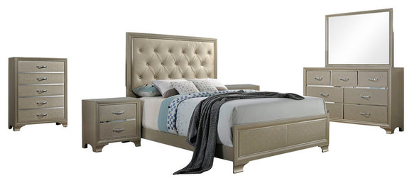 Delphine 6 Piece Upholstered Bedroom Set, King, Champagne Wood