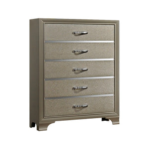 Delphine Chest, Champagne Wood & Chrome Metal