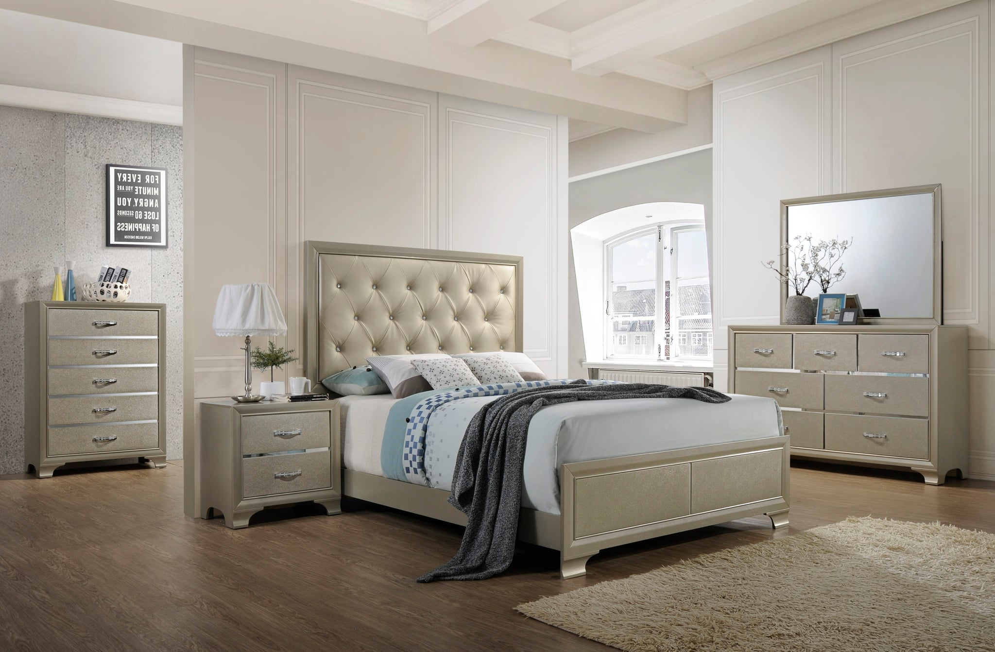 Queen Or King Size Contemporary Champagne Wood With Upholstered Tufted Faux Leather Headboard Panel Bedroom Set Bed Dresser Mirror Chest Nightstand Pilaster Designs