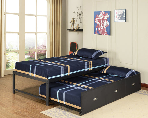 Archer Platform Bed Frame & Drawer Roll-Out Trundle Set, Black Metal, Twin