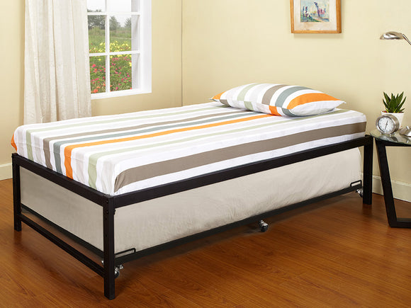 Archer Platform Bed Frame & Roll-Out Trundle Set, Black Metal, Twin
